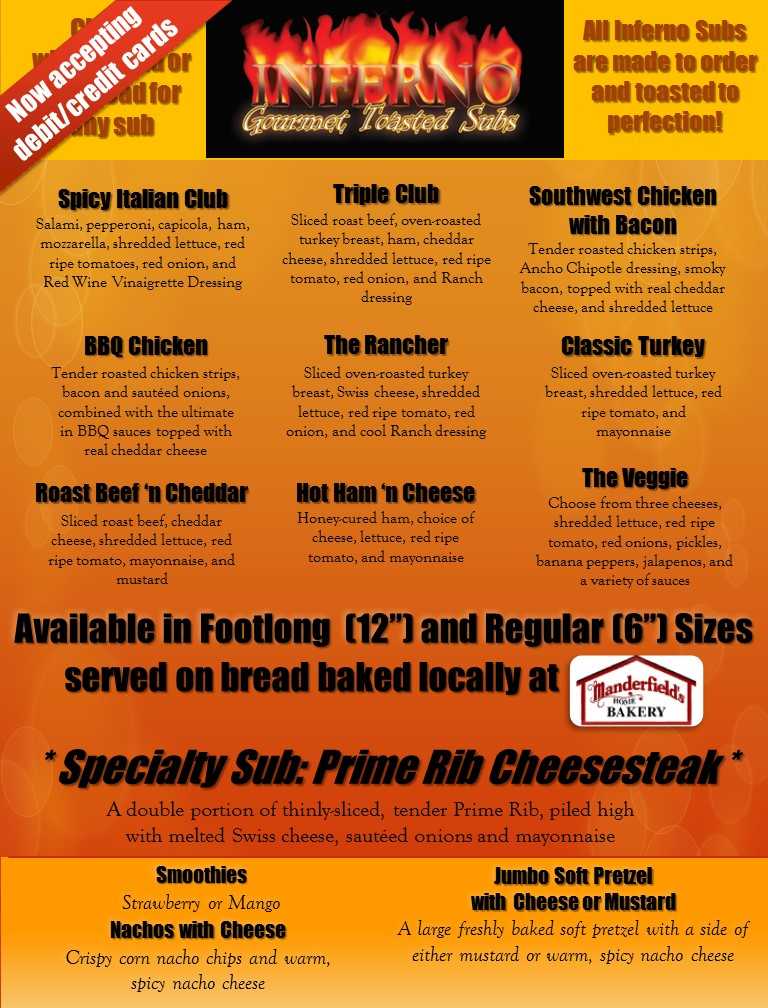 Inferno Subs standard food truck menu